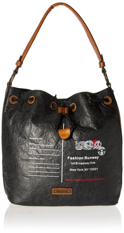 Nikky 女式时尚潮流信封设计印花黑色复古外观休闲包 Nikky 单肩包 黑色 均码