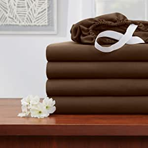 Empyrean 床品床笠 - 110 GSM 厚柔软超细纤维面料,标准床垫高度 - 多种尺寸和颜色 巧克力棕色 California King - 4 Pack