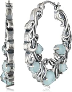 Bronze and Silver Plated Oxidized Chinese Amazonite and Swarovski Crystal Filigree Hoop Earrings