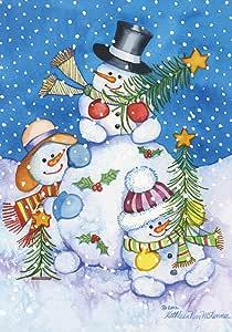 Toland Home 花园太酷 71.12 x 101.6 厘米装饰冬季雪人圣诞树假日屋旗帜