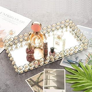 镜面珠宝托盘玻璃珠宝托盘珍珠首饰托盘梳妆台托盘小饰品托盘化妆收纳盒适用于梳妆台装饰珠宝香水浴室展示(白色)