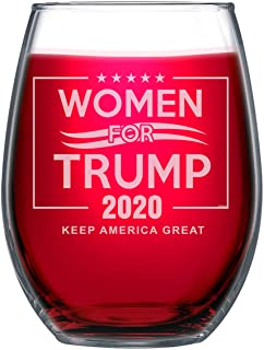 NeeNoNex 女式 For Trump 2020 Keep America Great Stemless Wine Glass