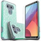Star for LG G6 手机壳带【含优质屏幕保护膜】,【减震】双层碰撞高级保护套适用于 LG G64326486347 Teal Lace