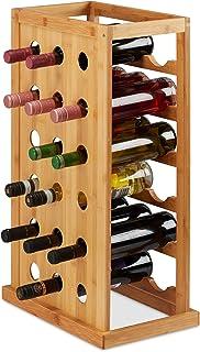 Relaxdays 10025950 架,紧凑型酒存储架,18 个竹子瓶架,HWD 66.5 x 39 x 25.5 厘米,天然木材