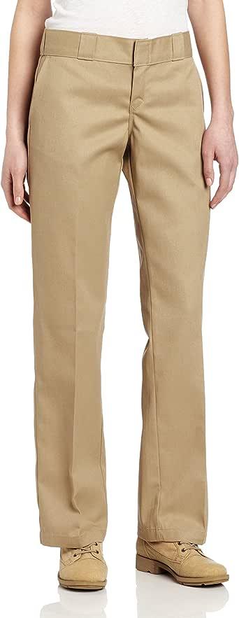 Dickies 女士原创工装裤带褶皱抗污直筒裤 卡其色 18/Tall