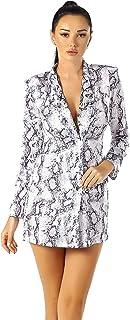 UNIQUE 21 女士灰色缎面蛇皮西装连衣裙