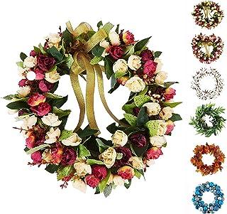 Baigio 女士花环手工制作人造花丝花环适合前门家庭墙壁婚礼装饰 *红色 14英寸 BGM-174533