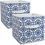 """Design Imports India Scroll Foldable Fabric Storage Containers (Set of 2), 11 x 11 x 11"""", Nautical Blue"""