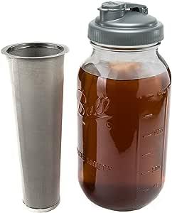 Mason Jar 冷酿咖啡机茶冲茶器 ReCAP - 0.45 升 Crave 出品 透明 2 qt Ball Jar, ReCAP, Filter unknown