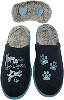 Dearfoams 女式新奇闭趾*泡沫拖鞋和眼罩礼品套装
