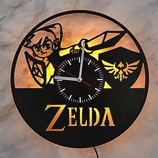 Zelda 电子游戏塞尔达传说夜灯壁灯乙烯基唱片挂钟室内灯适用于家庭乙烯基挂钟完美的房间室内装饰令人惊叹的墙壁设计创意*好的礼物