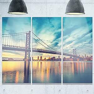 "Designart MT10192-20-12 费城城景金属墙壁艺术 Ben Franklin 桥 36x28"" - 3 Panels MT10192-3P"