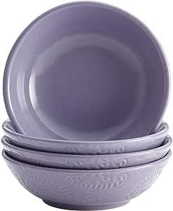 BonJour Dinnerware Paisley Vine 4-Piece Stoneware Fruit Bowl Set, Lavender