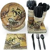 一次性餐具套装 – 恐龙主题派对用品,适合孩子生日、恐龙设计,包括塑料刀、勺子、叉子、纸盘、餐巾纸杯、杯子 Jurassic Dino 24-Pack DOGHU