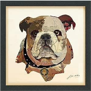 "Empire Art Direct""English Bulldog""维艺术拼贴由 Alex Zeng 签名带框图形墙壁艺术 Brwon 17 in. x 17 in. x 1.4 in DAC-081-1717B"