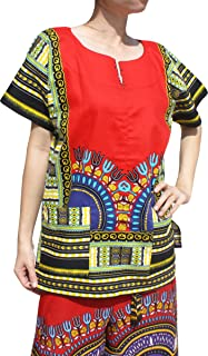 RaanPahMuang 前开叉非洲大喜吉传统棉衬衫,两个口袋