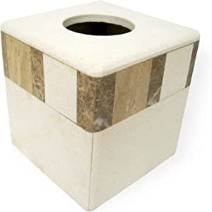 India Ink 9889641401, Monclova Marble Tissue Box Cover, Ivory/Beige