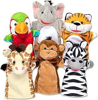 Melissa & Doug Safari Buddies 手偶,6 件套(大象、老虎、鹦鹉、长颈鹿、猴子、斑马)