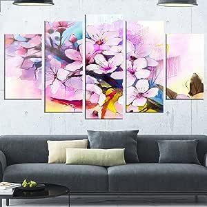 "Designart MT14089-271 日本樱花水彩 - 花光泽金属墙壁艺术,紫色,121.92x71.12 紫色 60x32"" - 5 Panels Diamond Shape MT14089-373"