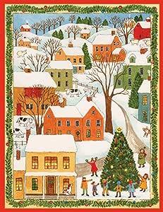 娱乐活动与 caspari Town 场景与 children 圣诞贺卡 (一盒16) ,多色