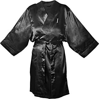 Cathy's Concepts Personalized Satin Robe, 1X-Large/2X-Large, Monogrammed Letter I, Black
