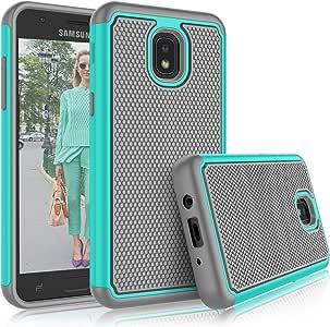 Tekcoo Galaxy J3 2018 手机壳,Tekcoo 三星 J3 Orbit/J3 Achieve/J3 Express Prime/J3 Prime 2/J3 V *三代/安卓 3/J3 Eclipse 2/Sol 3/J3 Aura/J3 Star 手机壳,[Tmajor] 可爱坚固外壳手机壳 蓝绿色