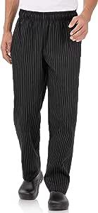 CHEF WORKS 纱线染色设计师宽松裤子,黑色和白色 chalkstrip 黑色和白色 XS