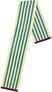 丸真 围巾 葡萄牙制造 提花毛巾 ストライプ イエロー 110×14cm 0366032700