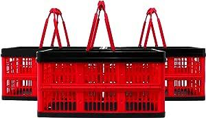 CleverMade 可折叠杂货购物篮,16 升(16.9 盎司),黑色 3片装 8031708-527