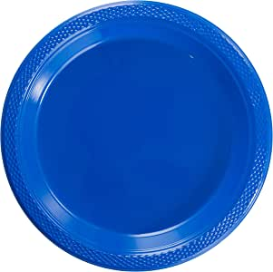 精致的塑料点心盘/沙拉盘 - 纯色一次性盘子 - 100 个 深蓝色 7 Inch.