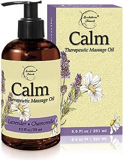 舒缓按摩油,含薰衣草和洋甘菊精油,放松肌肉酸痛 - 用于按摩*和家用 - 含椰子、葡萄籽油和荷巴油,适合光滑肌肤 - Brookethorne Naturals - 8.5盎司