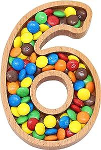 Mammoth 设计 | 木制交织字母形状开胃菜零食盘螺母碗 | 装饰和时尚儿童家居配件、生日、周年纪念和聚会 6
