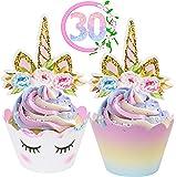 ecoZen 生活方式独角兽纸杯蛋糕装饰和包装装饰品(各 30 个) - 双面彩虹杯蛋糕衬垫带独角兽装饰 | 女孩生日派对的可爱装饰用品