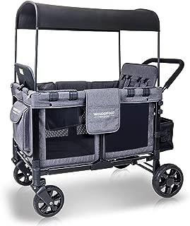 WonderFold 嬰兒多功能四輪乘客車折疊四輪手推車,帶可拆卸的可逆遮篷和座椅,*多4只幼兒 灰色