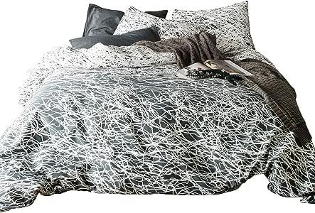 susybao 3件羽绒被套装 天然棉加大双人床尺码叶印花床上用品1件羽绒被套和2个枕套奢华优质柔软透气舒适耐用防划拉链领带