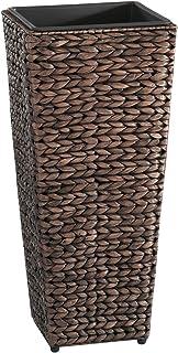 Gartenfreude 4001-1000-001 植物盆,带水卫生编织 28 厘米 x 28 厘米 x 60 厘米,内外或外侧采用防水塑料内衬棕色