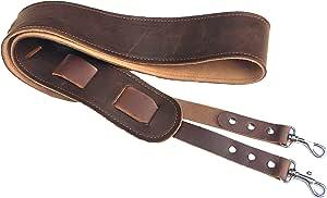 皮革班卓琴皮带。 易于连接的班卓琴皮带,带夹。 双油漆皮革。 美国制造。