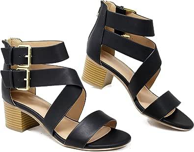 MVE Shoes 女式露趾系带低跟凉鞋