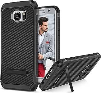 BENTOBEN Galaxy S7 Edge 手机壳,三星 Galaxy S7 Edge 手机壳,2 合 1 闪光闪光混合柔软 TPU 硬壳支架镀铬防震防撞保护套适用于三星 Galaxy S7 EdgeSamsung S7 Edge 黑色