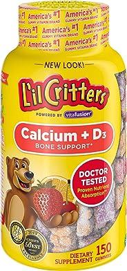 L'il Critters 丽贵小熊糖 钙+维生素 D3儿童补钙软糖 150粒 (口味可能会有所不同)