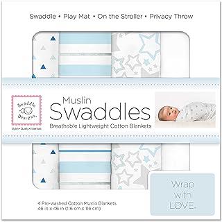 SwaddleDesigns棉布襁褓毯,4件套 Blue Starshine Shimmer/Pure White/Pastel Blue