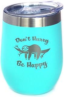 Don't Hurry Be Happy - 树懒酒杯带滑动盖子 - 无柄不锈钢保温杯 - 可爱有趣的户外露营礼物 蓝*
