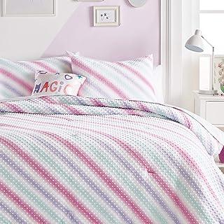 Dream FACTORY Tiedye Dot Plsh 被子套装,单人床,粉红色多色