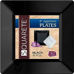 Squarete 20.32cm 黑色开胃菜 - 沙拉方形盘子 硬质塑料 优雅 一次性 10 个方形沙拉盘子 LSSQ-P8-B