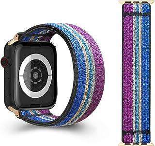 CreateGreat 弹性表带兼容苹果手表 38MM、40MM、双面弹性图案弹力表带,适用于 2019 iWatch 系列 5 4 3 2 1(不适用于 42mm/44mm 手表)