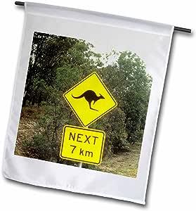 danita delimont–Road 标牌–标志警告 OF kangeroos CROSSING IN australia-au01bba0096–BILL BACHMANN–旗帜 12 x 18 inch Garden Flag