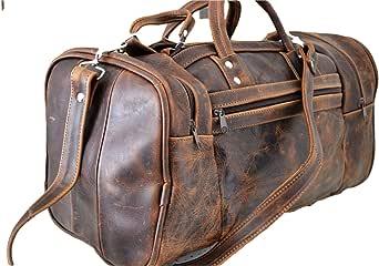 男士真皮行李袋 复古 40.64cm 旅行包 健身包 夜间旅行携带