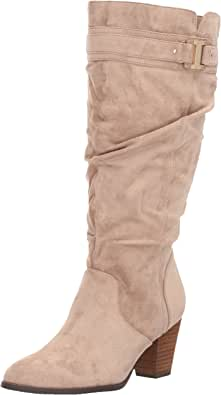 Dr. Scholl ' s 女式 devote 宽靴筒马靴 Putty Microfiber 10 B(M) US