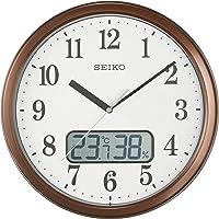セイコークロック 掛け時計 茶メタリック 本体サイズ:直径31.1×5.1cm 電波 アナログ 温度 湿度 表示 KX244B