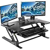 """VIVO 站立高度可调节,从坐到站立 36 英寸(约 91.4 厘米)立式工作站 36"""" 黑色"""